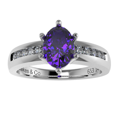 Oval Tanzanite Round Diamonds Engagement Ring 14k White Gold