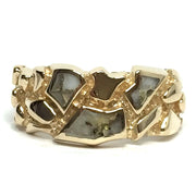 Superior Quality Gold Quartz Inlaid Nugget Design Ring