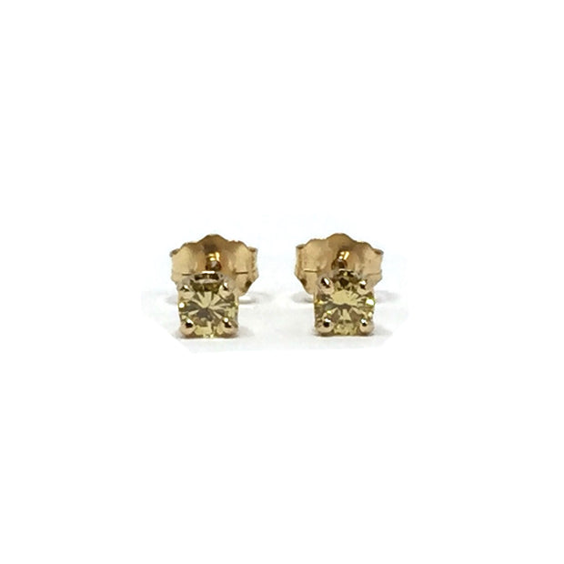 .30CTW YELLOW ROUND BRILLIANT CUT DIAMOND STUD EARRINGS