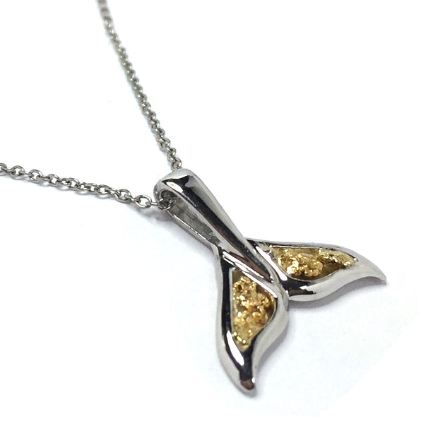 Whale Tail Necklaces double sided natural nuggets inlaid sea life pendant made of 14k white gold