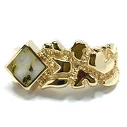 Gold Quartz Ring Diamond Shape Inlay Nugget Design Band