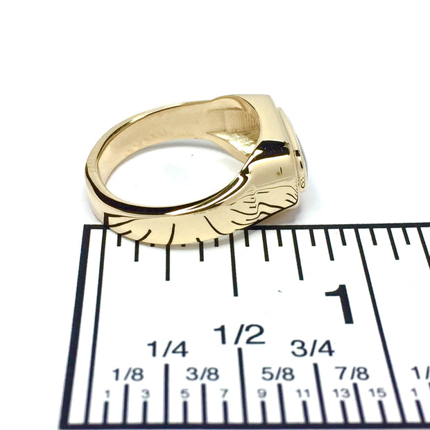 Gold Quartz Ring Oval Inlaid Design 14k Yellow Gold