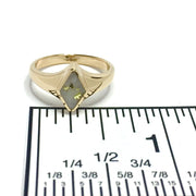 Gold Quartz Ring Diamond Shape Inlaid Superior Quality-James Hawkes Designs-Hawkes and Co