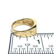 Gold quartz ring rectangle inlaid design 14k yellow gold