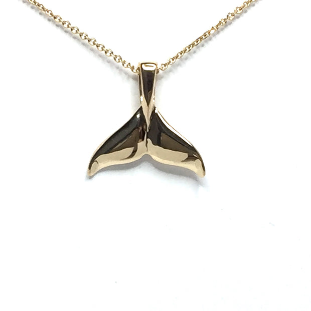 Whale tail necklaces gold in quartz and natural nuggets inlaid sea life pendant made of 14k yellow gold