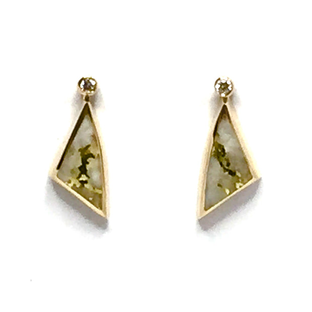 Gold Quartz Earrings Triangle Shape Inlaid .02ct Diamonds 14k yellow Gold