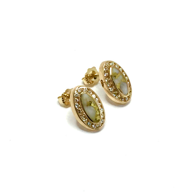 Gold Quartz Earrings Oval Inlaid .25ctw Diamonds Superior Quality-James Hawkes Designs-Hawkes and Co