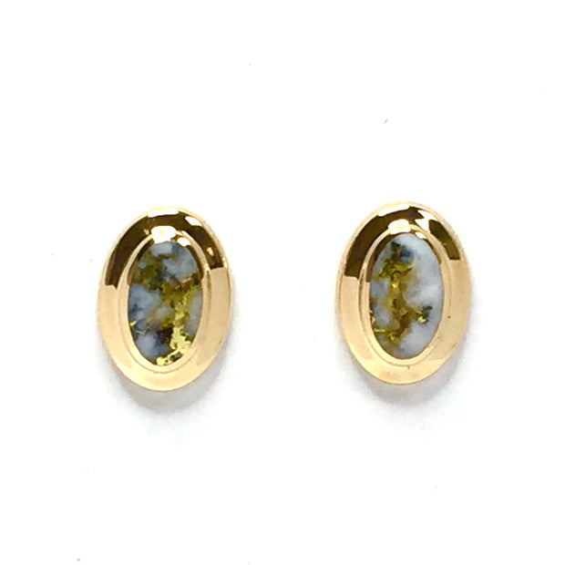 Gold Quartz Earrings Oval Inlaid Fine Quality-James Hawkes Designs-Hawkes and Co