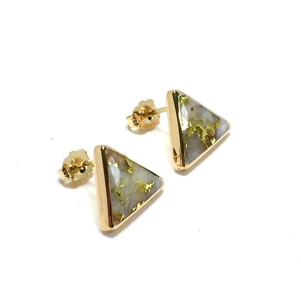 Gold Quartz Earrings Triangle Inlaid Studs 14k Yellow Gold