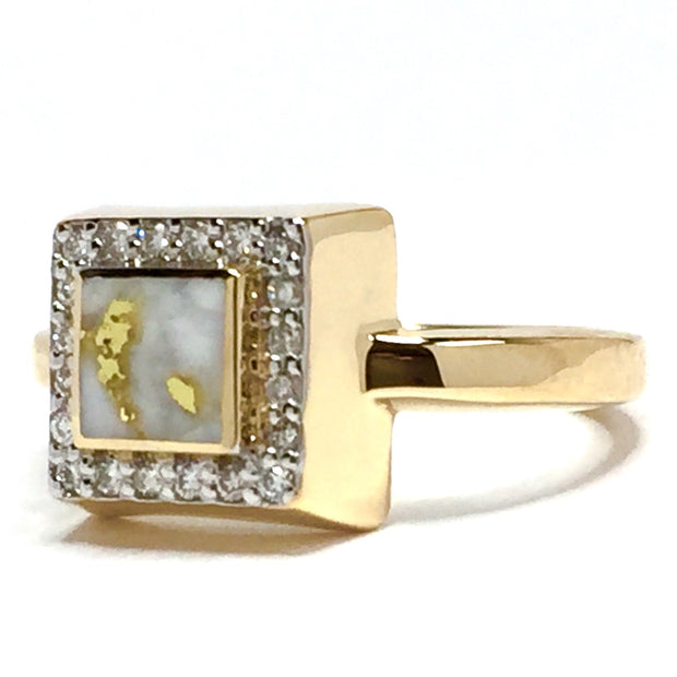 Gold quartz ring square inlaid .14ctw round diamonds halo 14k yellow gold