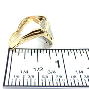 Gold quartz ring triangle inlaid design .31ctw round diamonds 14k yellow gold