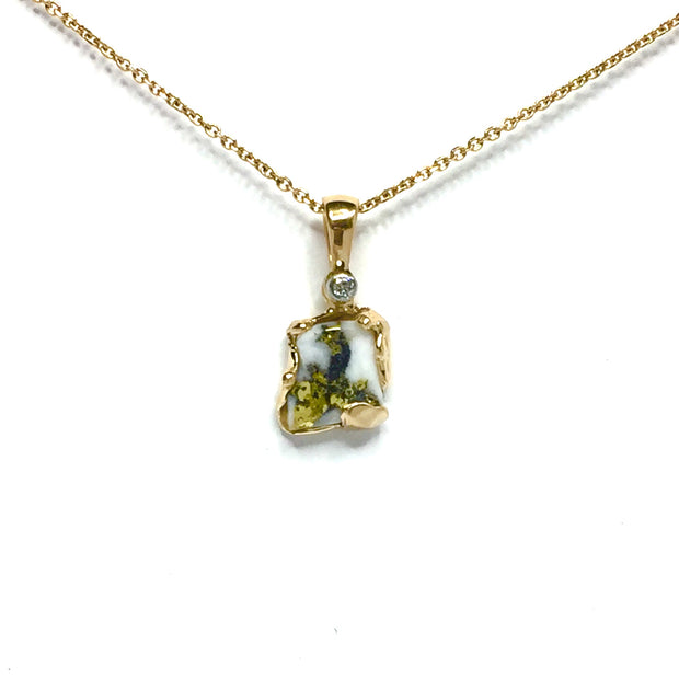 Free Form Gold Quartz Necklace .02ct Diamond Superior Quality