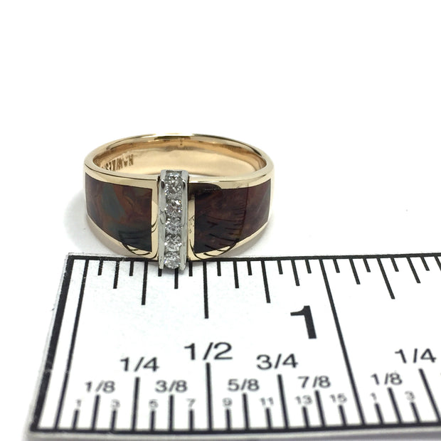 Pietersite Inlaid Ring .19ctw Diamonds Double Sided-James Hawkes Designs-Hawkes and Co