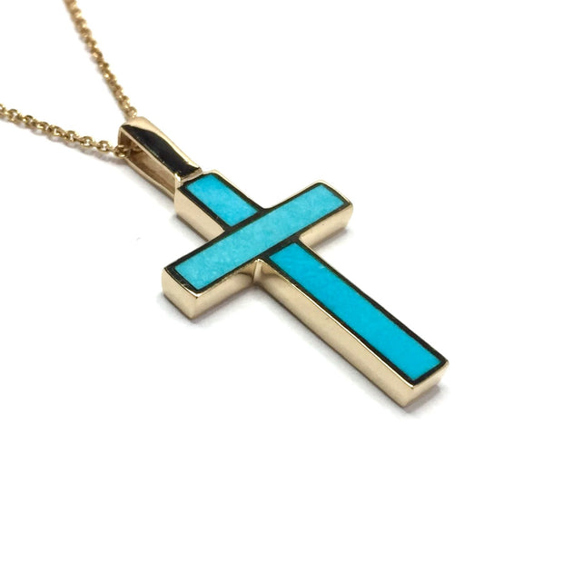 Sleeping Beauty Turquoise Cross Necklace Pendant, 14K Yellow Gold-James Hawkes Designs-Hawkes and Co