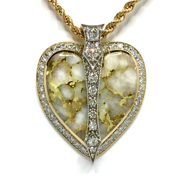 Gold Quartz Necklace Cupid's Revenge 2.10ctw Diamond Collection Quality-James Hawkes Designs-Hawkes and Co