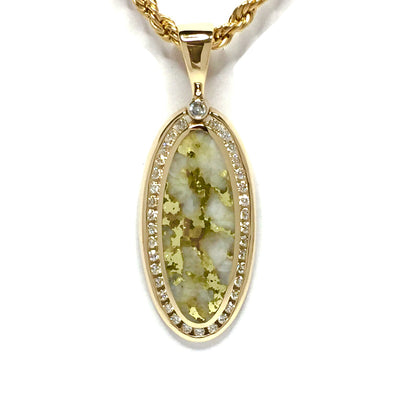 Gold Quartz Necklace .54ctw Diamond Halo Oval Inlaid Pendant made of 14k yellow gold