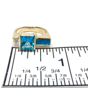 Natural Opal Ring Swiss Blue Topaz .06ct Diamond Fine Quality 14K Yellow Gold-James Hawkes Designs-Hawkes and Co
