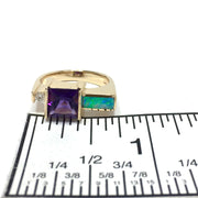Natural Opal Ring Square Amethyst .06ct Diamond Superior Quality 14K Yellow Gold-James Hawkes Designs-Hawkes and Co