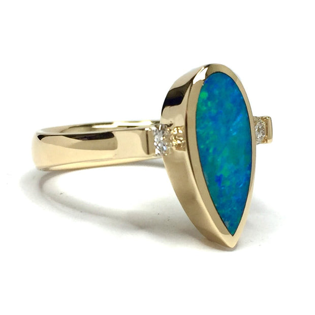 Natural Opal Ring Pear Shape Inlaid .18ctw Diamonds Superior Quality-James Hawkes Designs-Hawkes and Co