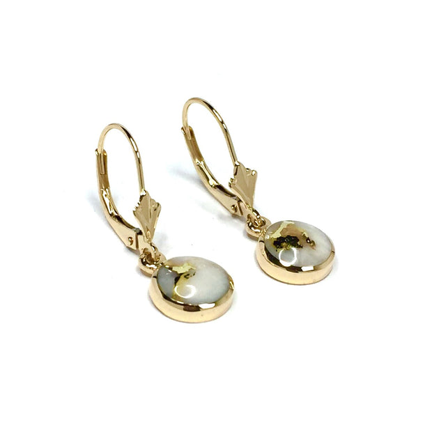 Gold Quartz Earrings Round Inlaid Lever Back Dangles-James Hawkes Designs-Hawkes and Co