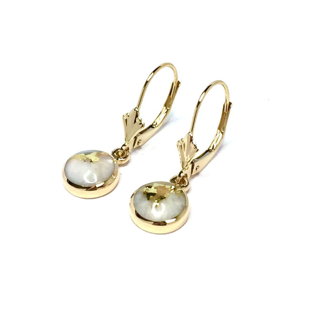 Gold Quartz Earrings Round Inlay Lever Back Design 14k Yellow Gold