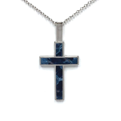 Natural Pietersite Cross Necklace 3 Section Inlaid 14K White Gold-James Hawkes Designs-Hawkes and Co