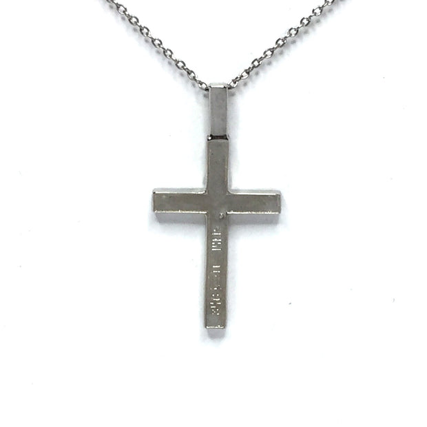 Natural Pieterstie Cross Necklace 4 Rectangle Section Inlaid 14K White Gold-James Hawkes Designs-Hawkes and Co
