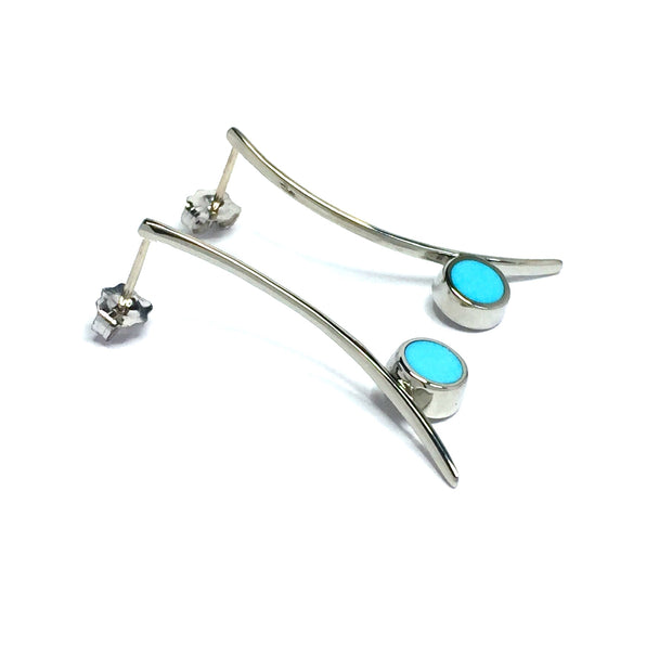 Natural Sleeping Beauty Turquoise Earrings Curved Bar Round Inlaid-James Hawkes Designs-Hawkes and Co