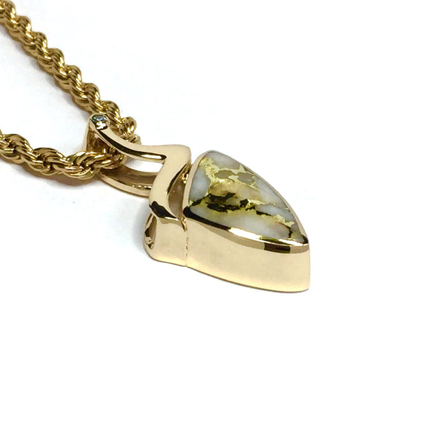 Gold quartz necklace triangle inlaid pendant made of 14k yellow gold with a .02ct diamond