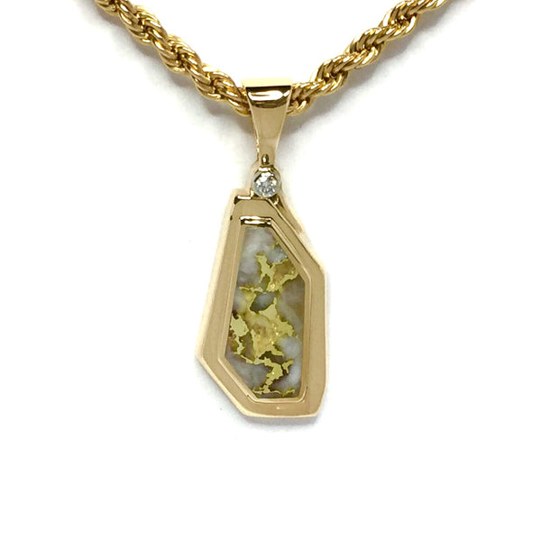 Gold Quartz Necklace Geometric Design .02ct Diamond Superior Quality-James Hawkes Designs-Hawkes and Co