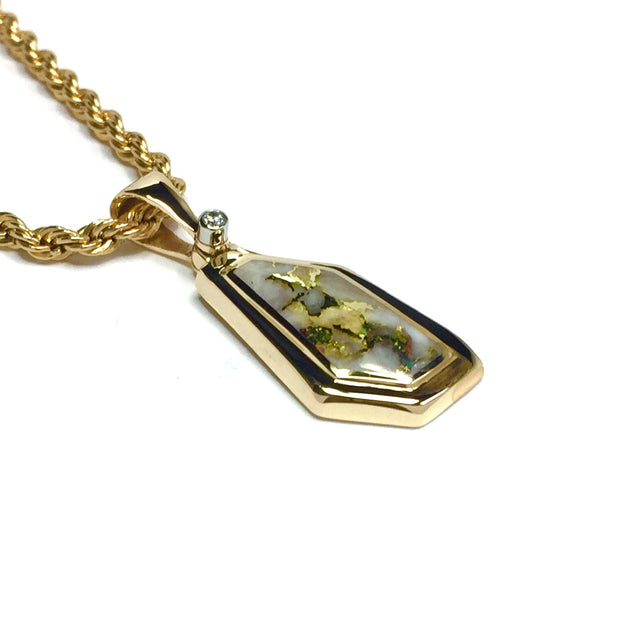 Gold Quartz Necklace Geometric Inlaid Design Pendant with a single .02ct Diamond