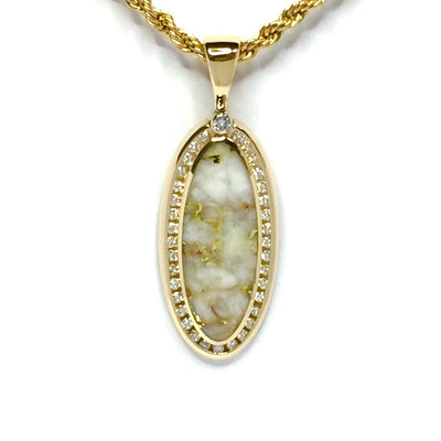 Gold Quartz Necklace Oval Halo Design .54ctw Diamonds Superior Quality-James Hawkes Designs-Hawkes and Co