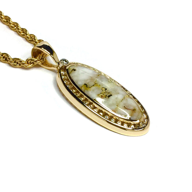 Gold Quartz Necklace .54ctw Halo Diamond Oval Inlaid Pendant Made of 14k yellow gold