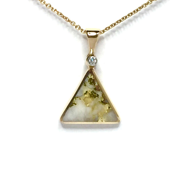 Gold Quartz Necklace Triangle Inlaid .02ct Diamond Collection Quality-James Hawkes Designs-Hawkes and Co