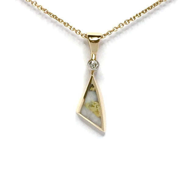 Gold quartz necklace sail inlaid design pendant made of 14k yellow gold with a .02ct diamond