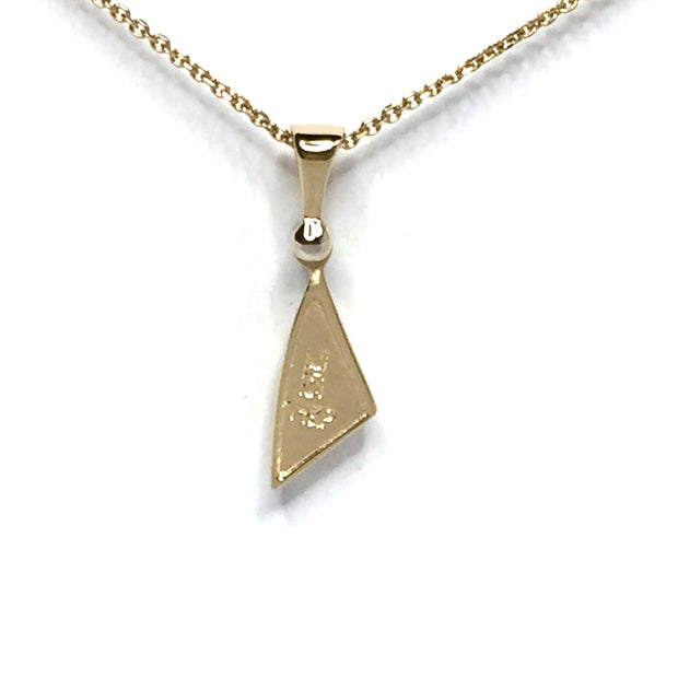 Gold Quartz Necklace Sail Design .02Ct Diamond Collection Quality-James Hawkes Designs-Hawkes and Co
