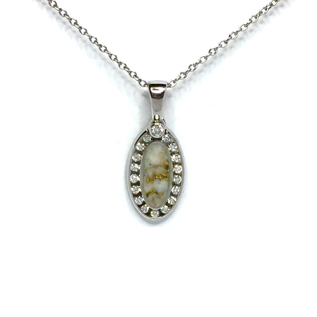 Gold in quartz necklace .22ctw halo diamond oval inlaid pendant made of 14k white gold