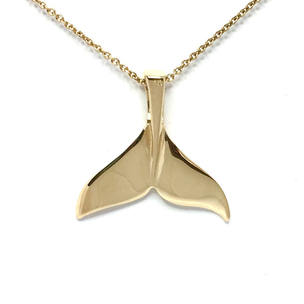 Gold Quartz Whale Tail Necklace Single Sided Inlaid Superior Quality-James Hawkes Designs-Hawkes and Co
