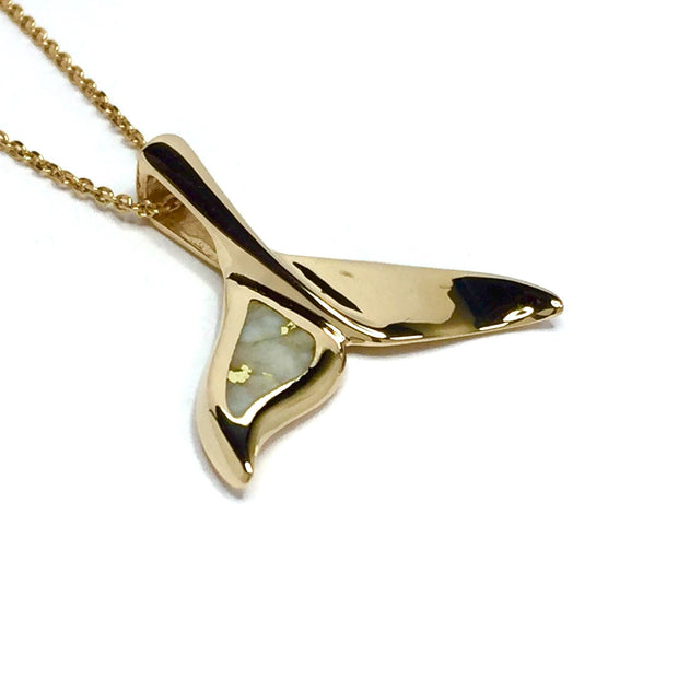 Whale tail necklaces gold in quartz single sided inlaid sea life pendant made of 14k yellow gold