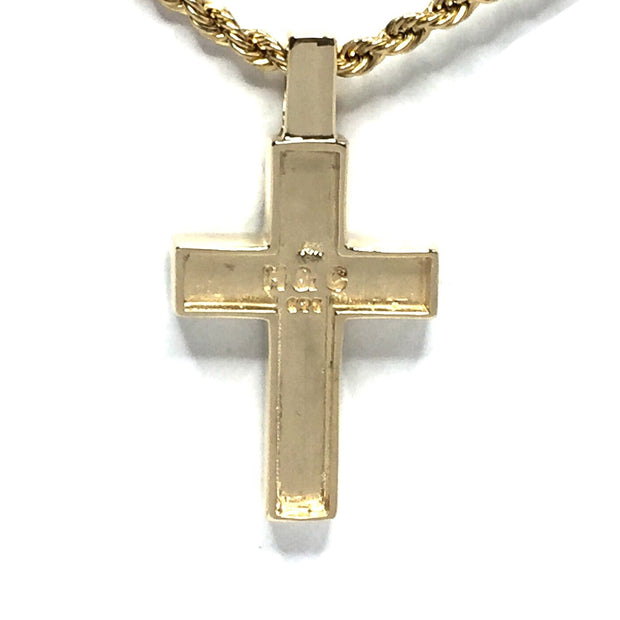Gold Quartz Necklace 3 Section Inlaid Cross Pendant Made of 14k Yellow Gold