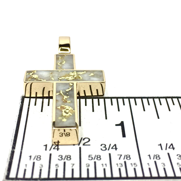 Gold Quartz Necklace Cross Design 3 Section Inlaid Collection Quality-James Hawkes Designs-Hawkes and Co