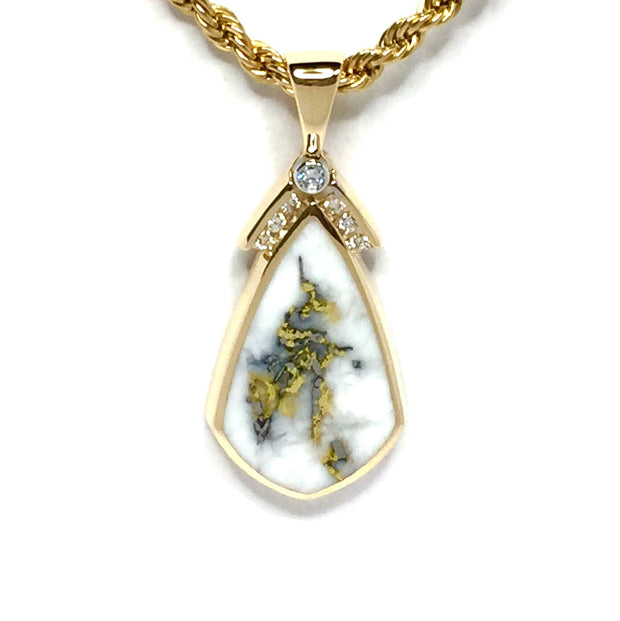 Gold Quartz Necklace Pear Shape Inlaid .15ctw Diamonds Fine Quality-James Hawkes Designs-Hawkes and Co