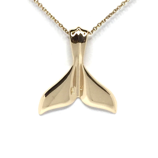 Whale Tail Gold Quartz Necklace Medium Double Sided Inlaid Fine Quality-James Hawkes Designs-Hawkes and Co