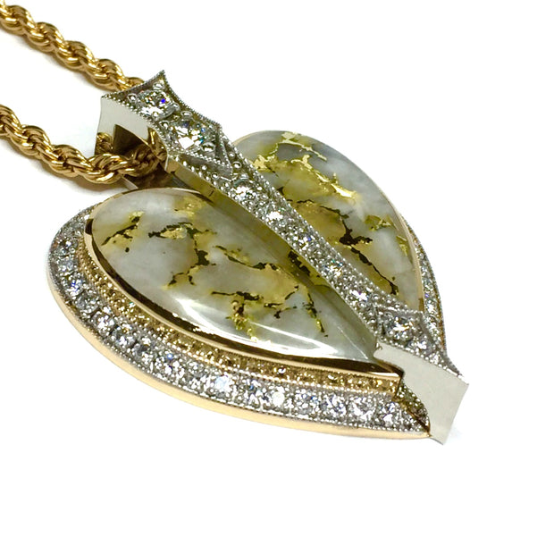 Gold Quartz Necklace Heart Shape Inlaid Pendant Made of 14k Gold Accented by 2.24ctw Round Diamonds