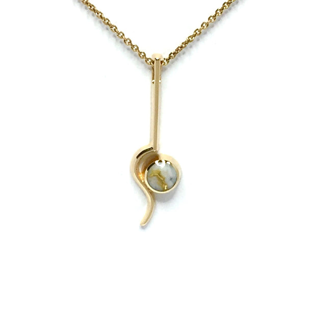 Gold quartz necklace round inlaid curved bar pendant made of 14k yellow gold