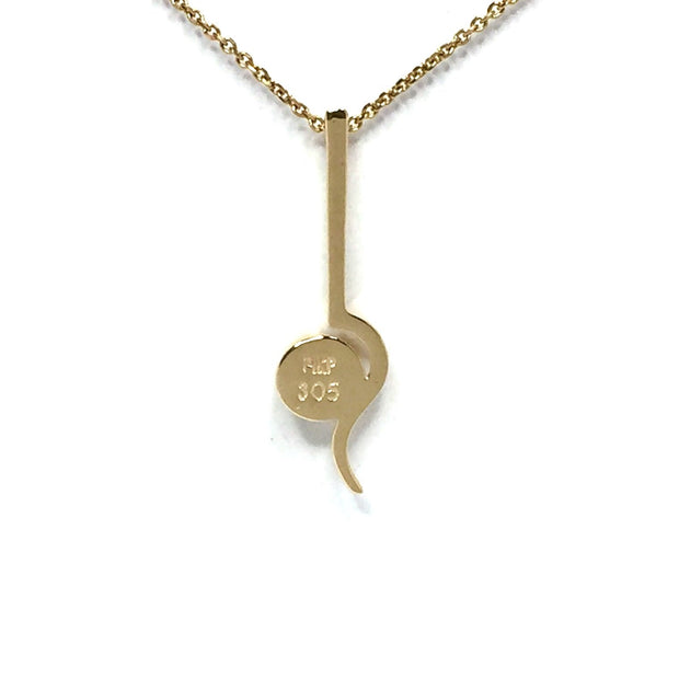 Gold Quartz Necklace Round Inlay Curved Gold Bar Superior Quality-James Hawkes Designs-Hawkes and Co
