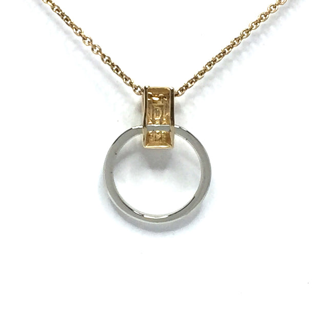 Gold quartz necklace rectangle inlaid circle knocker pendant made of 14k yellow and white gold