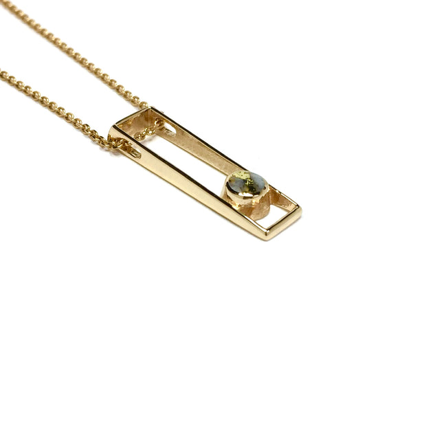 Gold quartz necklace round inlaid open rectangle open design pendant made of 14k yellow gold
