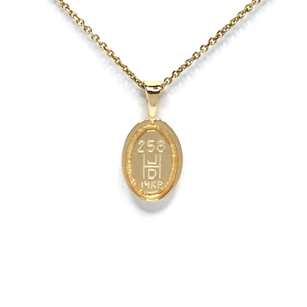 Gold in quartz necklace oval inlaid pendant made of 14k yellow gold