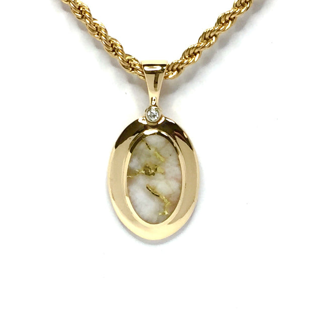 Gold Quartz Necklace .02ct Diamond Oval Inlaid Pendant made of 14k yellow gold
